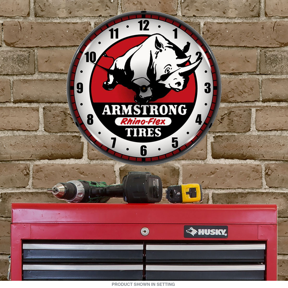 Armstrong Rhino Flex Tires Light Up Garage Clock