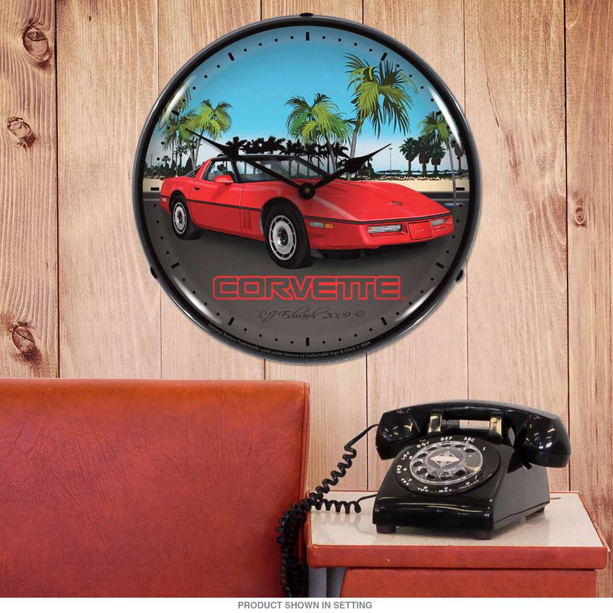 Chevrolet Corvette C4 Red 80s Light Up Garage Clock