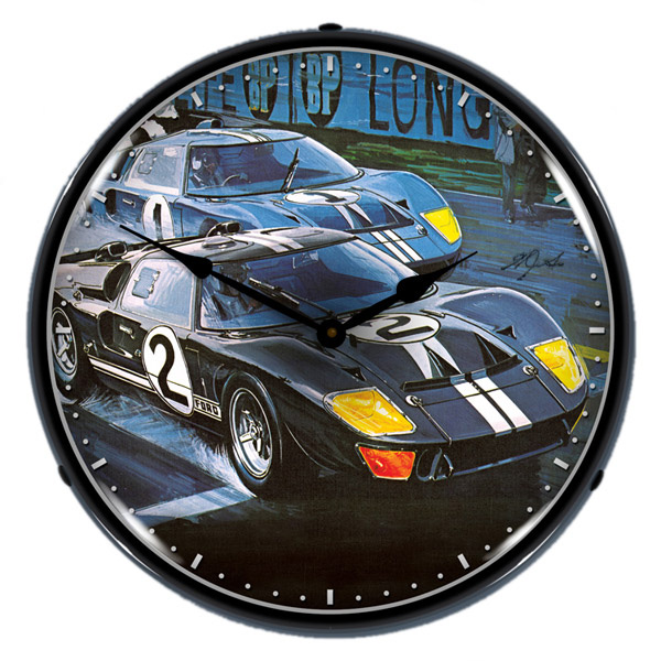Ford GT40 Vintage Race Car Light Up Garage Clock