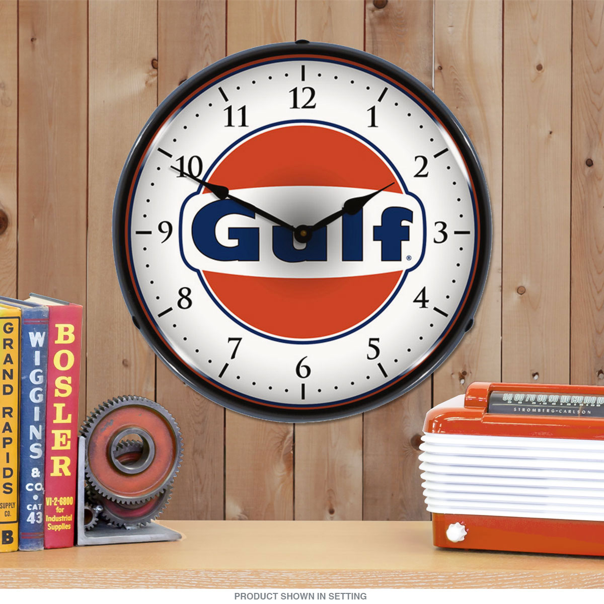 Gulf oil logo light up wall clock vintage garage clocks light up garage clock zoom aloadofball Image collections