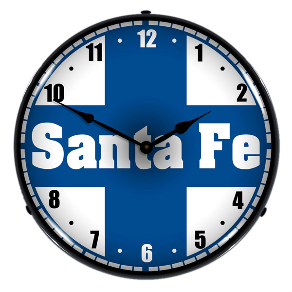 Santa Fe Railroad Logo Light Up Clock