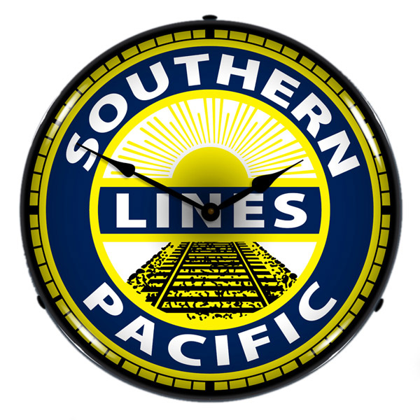 Southern Pacific Lines Railroad Light Up Train Clock