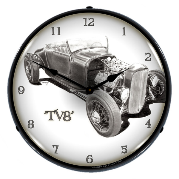 TV8 Hot Rod Light Up Garage Clock