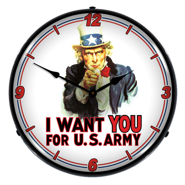 Uncle Sam I Want You Light Up Military Clock