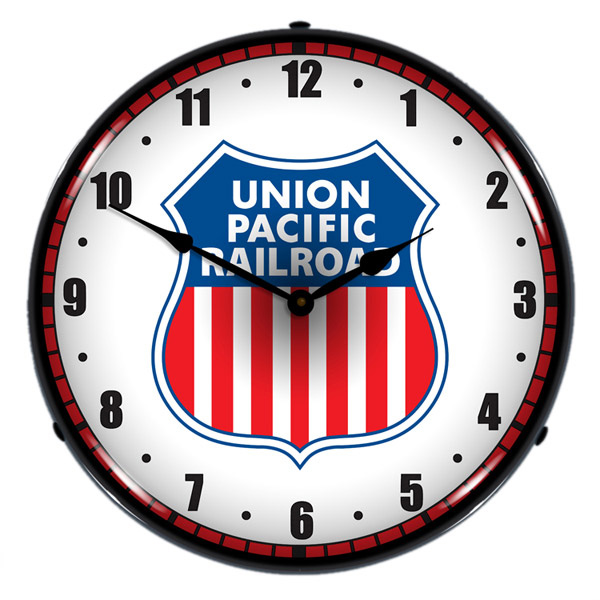 Union Pacific Railroad Logo Light Up Train Clock