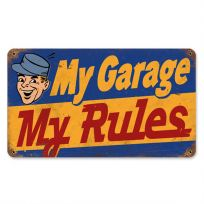 My Garage My Rules Funny Vintage Metal Sign