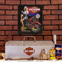Harley-Davidson Fixer Up Babe Pinup Metal Sign