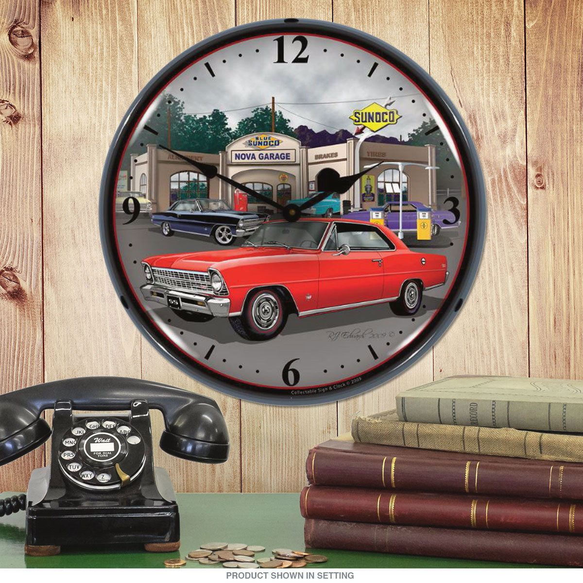 Chevrolet Nova Sunoco Station Light Up Garage Clock