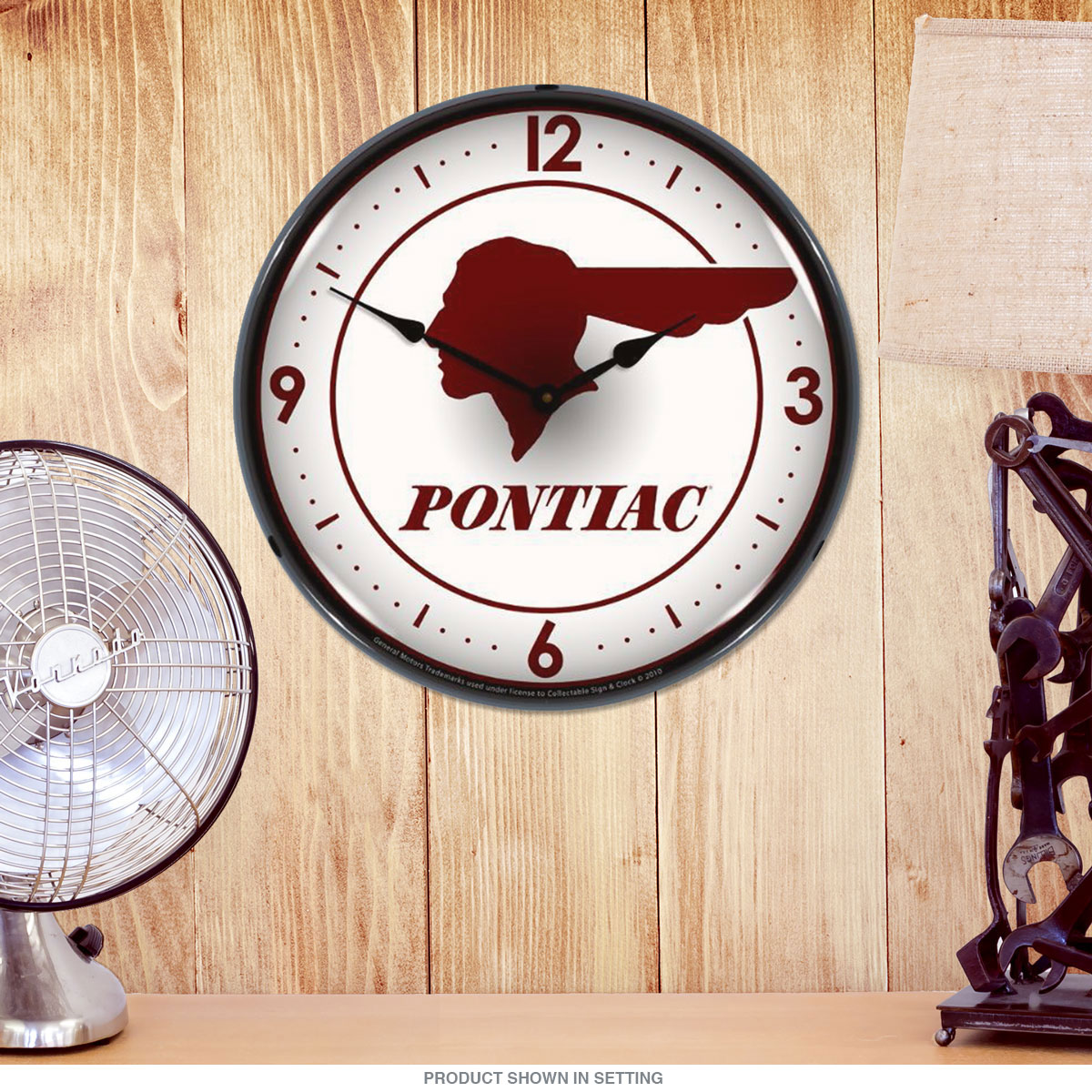 Pontiac Indian Head Logo Light Up Garage Clock