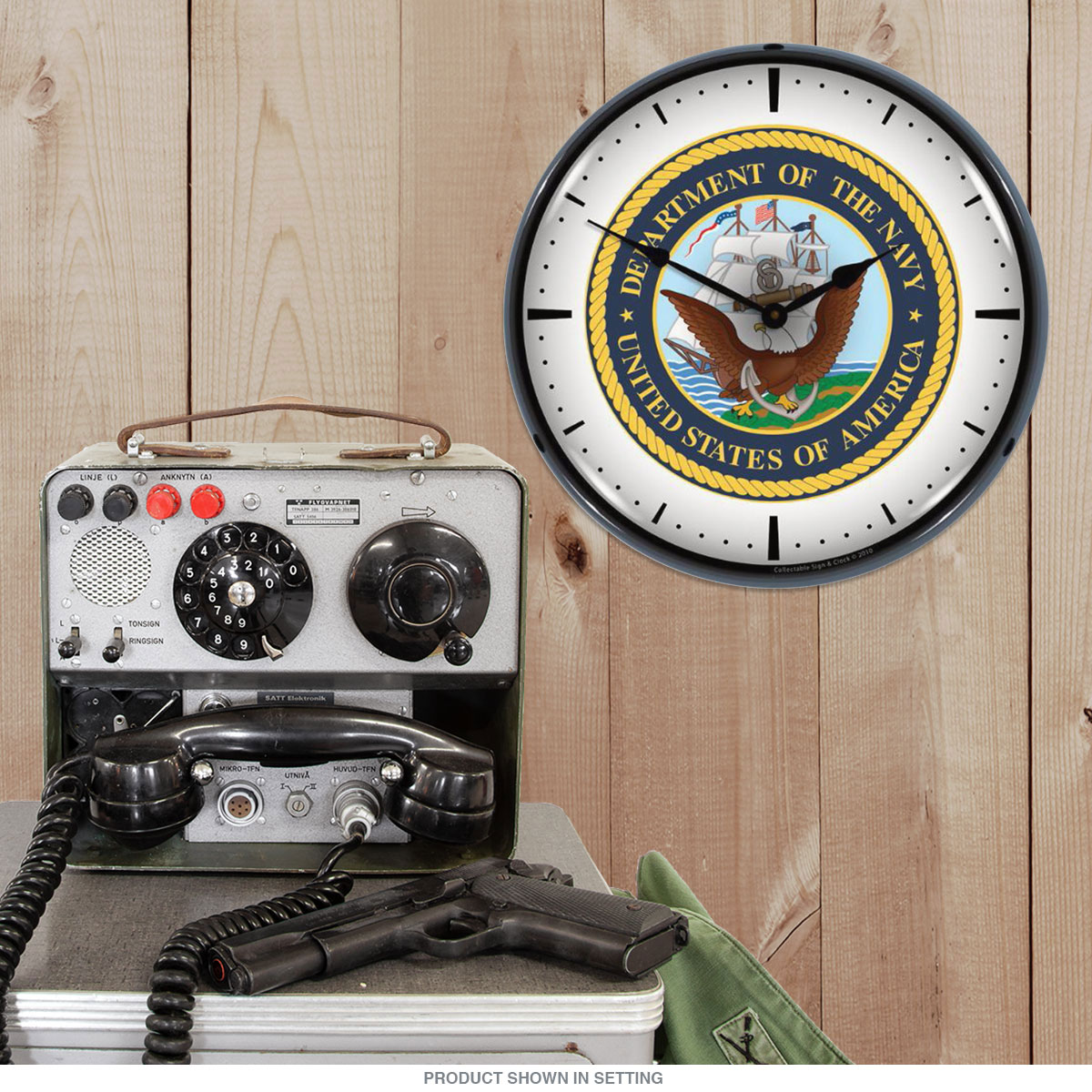 United States Navy Logo Light Up Military Clock