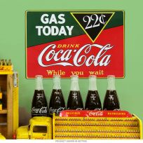 Coca-Cola Gas Today Embossed Metal Sign