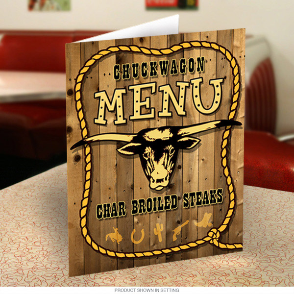 Chuck Wagon Country Western Menu Cover Kitchen