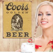 Coors Golden Beer Distressed Tin Sign