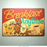 Breakfast Anytime Dancing Food Kitchen Sign 18 x 12