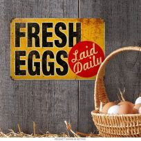 Fresh Eggs Laid Daily Country Kitchen Metal Sign