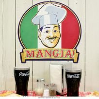 Mangia Italian Chef Eat Flag Metal Sign 16 x 16