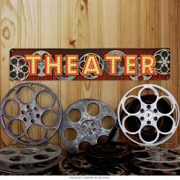 Theater Lights Movie Reels Horizontal Metal Sign