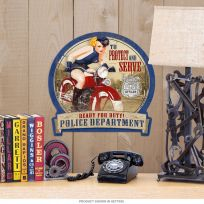 Police Protect and Serve Motorcycle Pin Up Sign