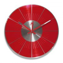 Red Brushed Metal Wall Clock_D