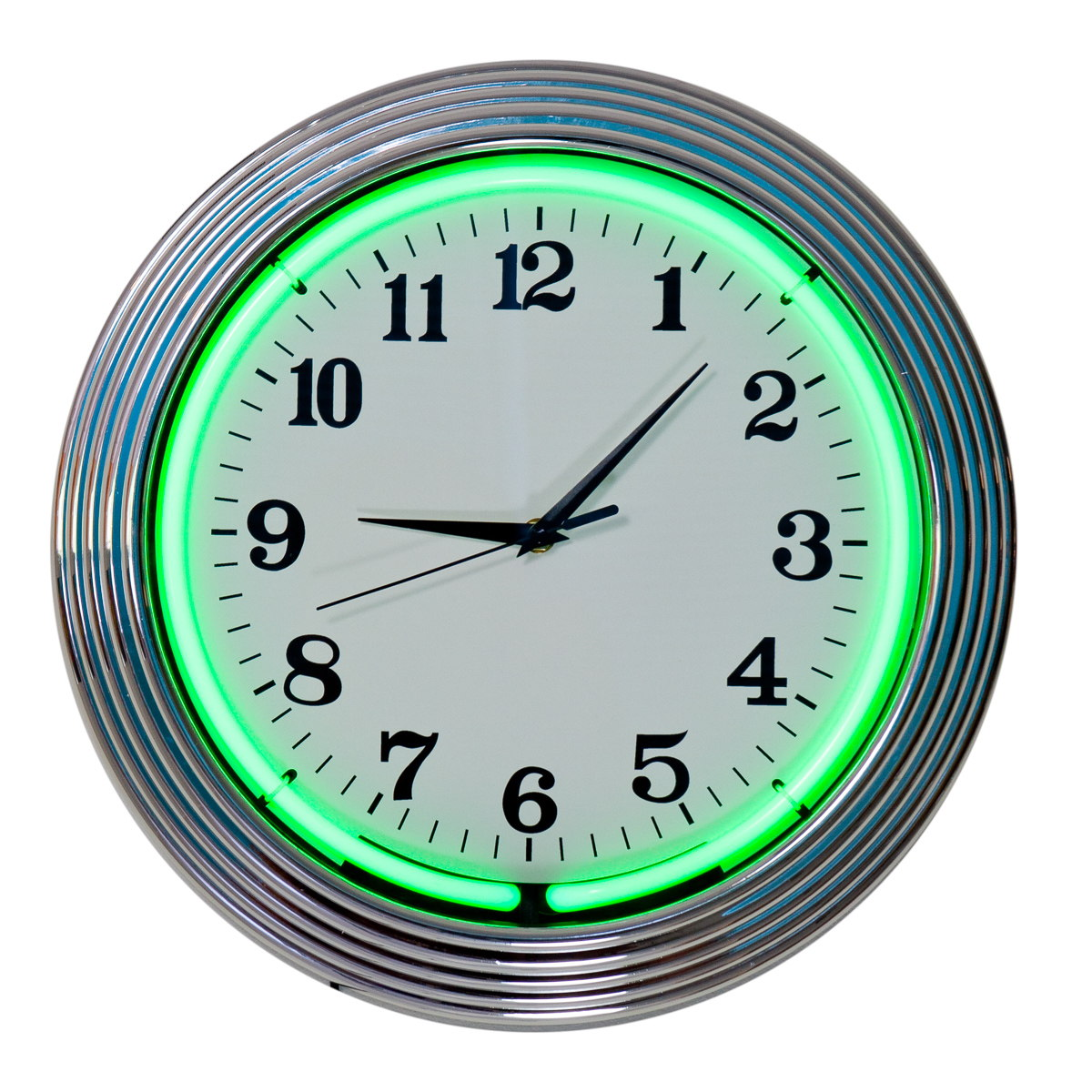decorative wall clocks and thermometers  retroplanetcom - neon green chrome wall clock