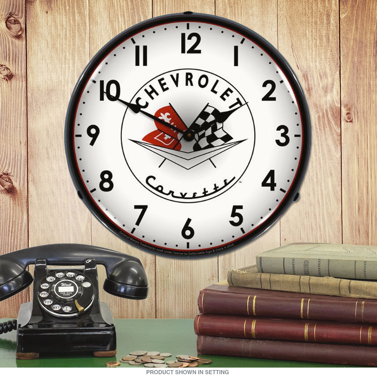 Corvette 1956 Logo White Light Up Garage Clock