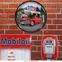 Chevrolet Impala Mobilgas Station Light Up Garage Clock