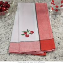 Cherry Red Border Kitchen Dish Towel