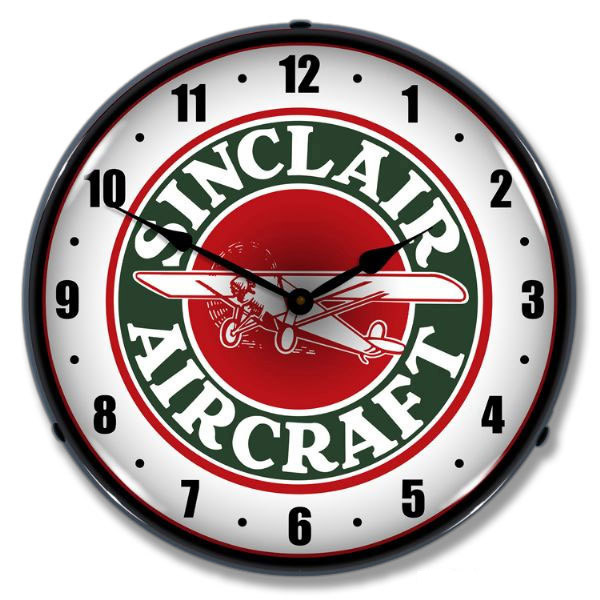 Sinclair Aircraft Light Up Aviation Garage Clock