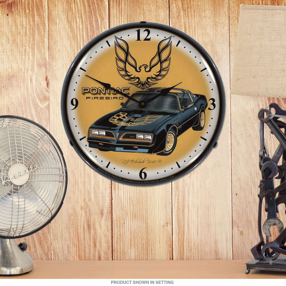 Pontiac 1977 Firebird Black Light Up Garage Clock
