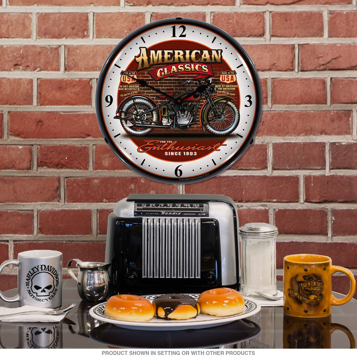 American Classics Motorcycle Light Up Garage Clock