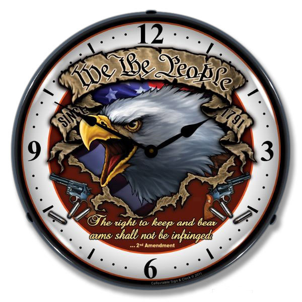 We the People Second Amendment Light Up Clock