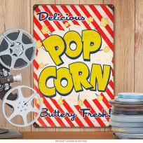 Popcorn Delicious Fresh Home Theater Metal Sign_D
