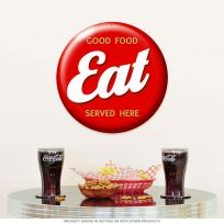 Eat Good Food Served Here Button Diner Sign 14 in