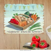 Grow Your Own Veggies Country Kitchen Metal Sign
