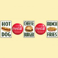 Drink Coca-Cola Buttons and Diner Food Sign Set_D