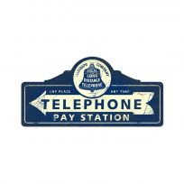 Telephone Pay Station Steel Sign