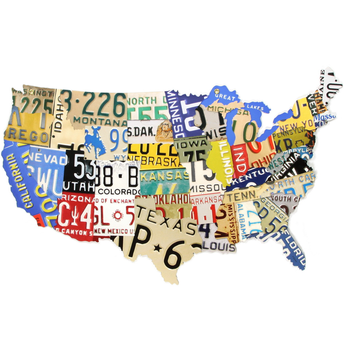 USA Map License Plate Style Metal Sign Travel Decor - Us liscense plate map