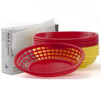 Plastic Deli Serving Baskets Red/Yellow 12 Ct w/ Liners