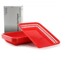 Plastic Deli Serving Baskets Large Red w/ Liners