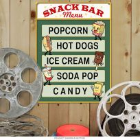 Snack Bar Menu Popcorn Hot Dogs Home Theater Sign
