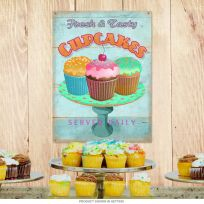 Fresh Tasty Cupcakes Distressed Kitchen Metal Sign