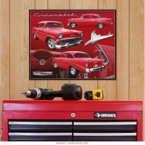 1956 Chevrolet Red Coupe Tin Sign