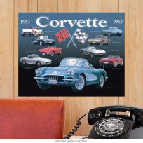 Chevy Corvette Collage Tin Sign