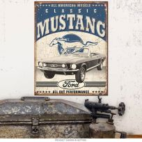 Classic Mustang All American Muscle Metal Sign