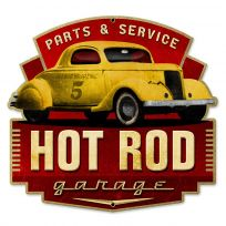 Hot Rod Parts and Service Garage Steel Sign