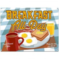 Breakfast All Day Diner Food Metal Sign