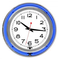 Chrome Double Ring Blue Neon Clock