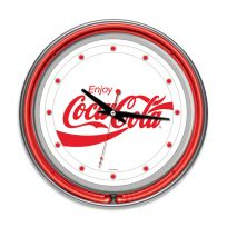 Coca-Cola Enjoy Script Chrome Red Neon Kitchen Clock