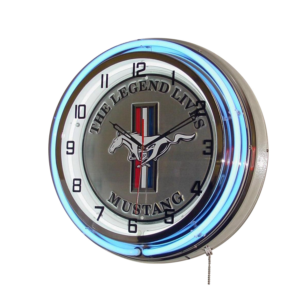Decorative wall clocks and thermometers retroplanet ford mustang legend lives on double neon clock amipublicfo Images