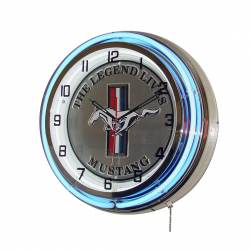 Ford Mustang Stripes Neon Clock At Retro Planet